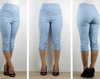 Womens stretch chambray blue capri pants, 3/4 calf length high waisted pull on made to order Australia vintage inspired