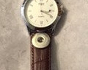 Sale!  Interchangeable Snap Watches Black and Brown - Holds 18-20mm Snaps - Snaps not Included