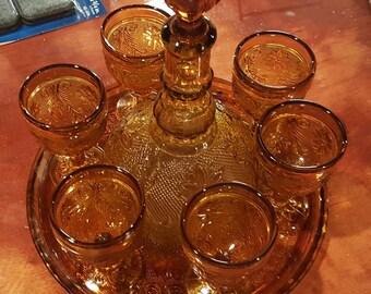 Vintage Carnival Glass Wine Set