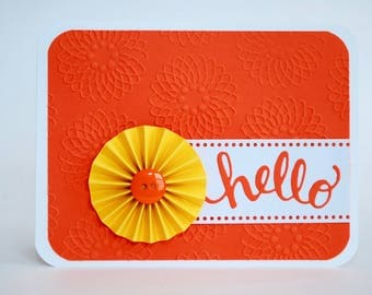 Hello Greeting Card - Hello Note Card - Blank Inside Friendship Card - Just Because Card
