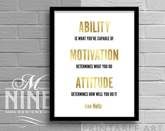 """Gold Printable Wall Art """"Ability Motivation Attitude"""" Motivational Quote, Frame Art, Inspirational Quote, Sports Décor, Wall Décor 11G"""
