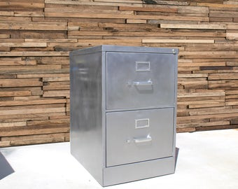 refinished bare 2 drawer legal size metal filing cabinet brushed industrial cabinet metal