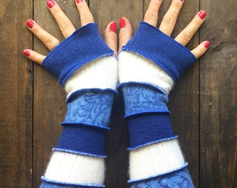 Fingerless Gloves -Made from Recycled Sweaters// Dragon Gauntlets