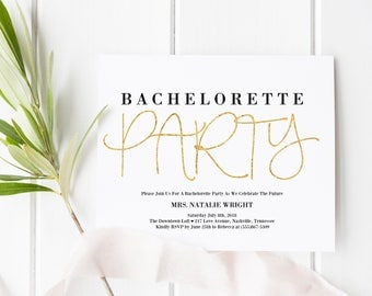 Bachelorette Party Template, Bachelorette Party Invitations, Bachelorette Party, Printable Bachelorette Invitations, Black and Gold, Modern