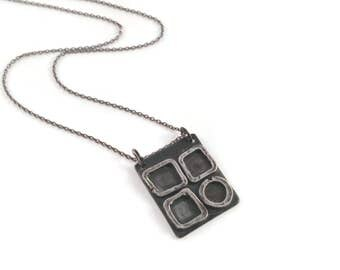 Gentiana*  Artisan Geometric Silver Necklace Rustic Oxidized Pendant