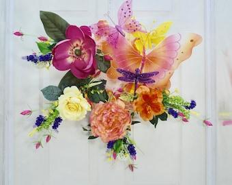 Spring Wreath- Butterfly Wreath- Front Door Wreath- Floral Wreath