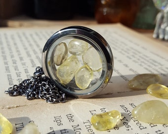 Citrine Floating Locket Pendant, natural gemstone, gunmetal, vintage style, crystal, suncatcher