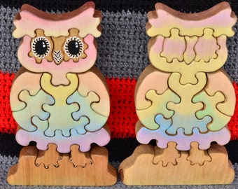 Wooden Owl Puzzle, birch, Gift for Toddlers and Children Tree figurine Handmade Eco Friendly Toy Waldorf Toy
