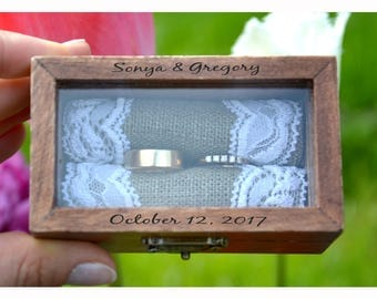 ring box, Personalized ring box with glass lid, wedding box, wooden ring box ,ring bearer box,engagement ring box, custom ring holder (R50)