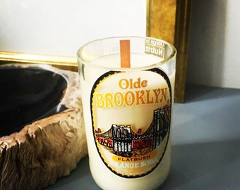 Brooklyn bottle candle.  Whiskey scent. 6oz. .