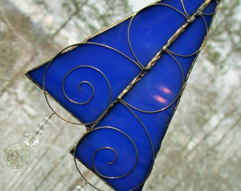 Stained Glass Suncatcher -  Double Blue