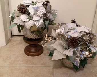 centerpiece poinsettia christmas silver winter pine floral cone flowers arrangement flower holiday berries