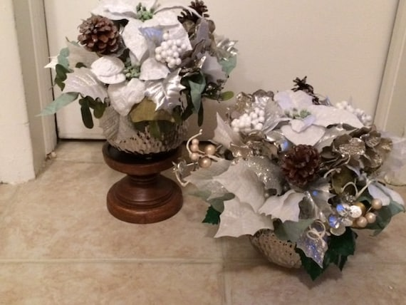 Winter Poinsettia Centerpiece Silver And White Christmas