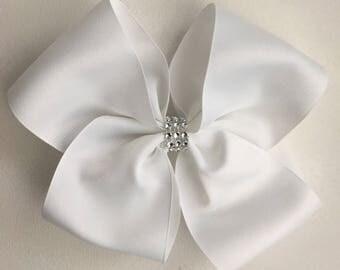 Large White Sparkle Hair Bow Jojo Siwa Dance Moms Inspired Handmade in the UK