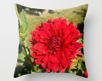 Red Dahlia, Throw Pillow Cover, Red Flower, Red Toss Pillow, Red Flower Cushion, Red Accent Pillow, Flower Accent Pillow, Red Toss Cushion