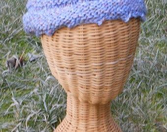 unisex hand knit cozy light blue wool hat