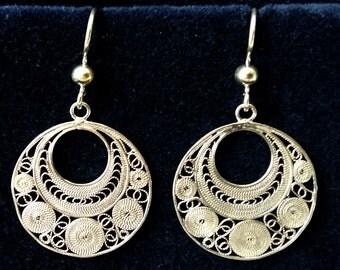 Silver Filigree Earrings Ronda, Sterling Silver Earrings, Filigree Earrings from Spain, Flamenco, Filigrana Cordobesa, Oriental Look