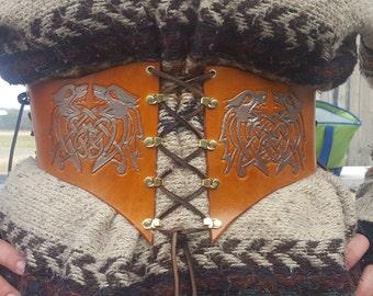 Tooled Leather Waist Cincher Belt- Celtic Wolves
