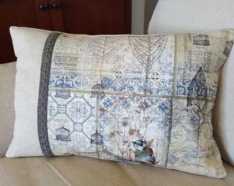 Blue Bird - Designer Print Feather Down Pillow