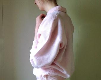 1980s pink Shetland wool preppy casual polo jumper sweater . Size 6/8/10/12