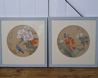 SOLD! Vintage Hand Painted Chinese Pictures - probably on silk - Soft Green/Grey Painted Frames
