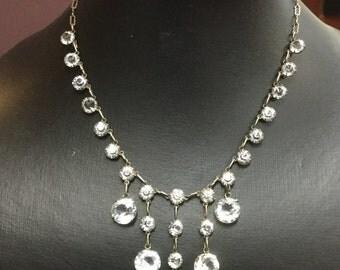 Vintage Sterling Clear Crystal Drop Necklace