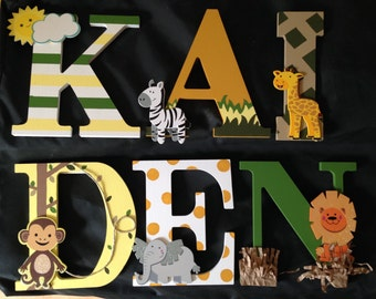 "8"" Wooden Nursery Letters-Safari Theme"