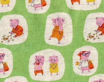Nursery Versary, Piggies Pigs, Green, by Heather Ross, for, Kokka, OOP, HTF, children fabric, Fairytales fabric, Piglets, market