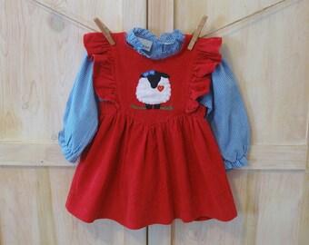 Girls Pinafore Dress 3T, Vintage 2 Piece Red Corduroy Dress Blue Gingham Shirt, Toddler Girl's Samara Dress With Lamb Applique, Dress Set