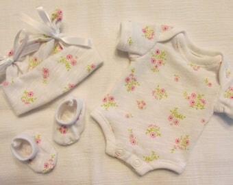 "9-10"" Girls Tiny Floral Sprays Bodysuit Set for Baby Doll OOAK Sculpt Reborn Clothes ~ Shabbey"