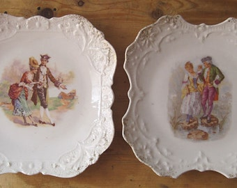 2 old decorative plates in porcelain - romantic décor, french Vintage.Cadeaux.Vintage, Decorative Tableware