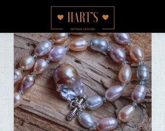 Baroque Angel Wing Pearl, Aquamarine Gemstone, Cultured Pearl Artisan Necklace