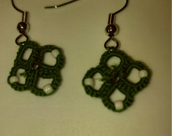 Hand tatted green with white beads earrings copper free