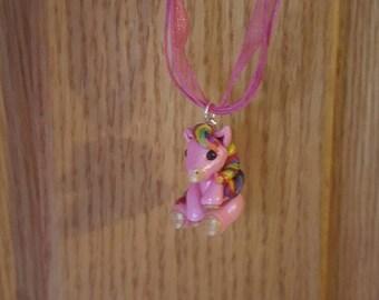 Mini pony pendant necklace, Rainbow pony, pink pony, polymer clay.