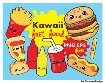 30% OFF, Kawaii clipart, kawaii fast food clipart, kawaii food clipart, kawaii pizza clipart, kawaii burger clipart, commercial use