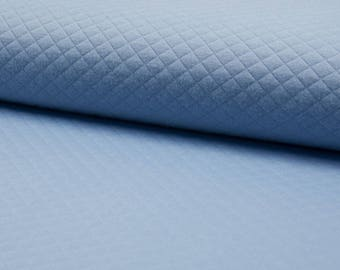 Quilted Jersey smoke-blue quilt fabric by the metre small diamonds 0, 50 m
