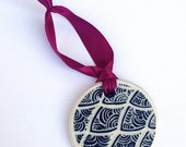 Zentangle Christmas Tree Ornament - Holiday Decoration, hand carved porcelain