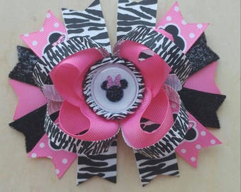 Minnie Mouse Hair Bow | Pink and Black | Zebra Minnie Mouse