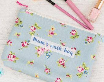 Personalised Rosebud Design Wash Bag - toiletry bag - gift for her - mother's day gift - large makeup bag -personalized toiletry bag
