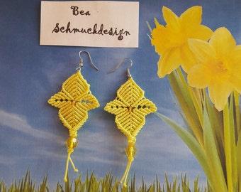 Earrings, macrame, floral, yellow