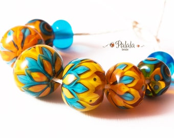 Set of yellow and blue lampwork beads