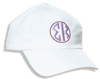 SK  Sigma Kappa Sorority Embroidered Circle Font Baseball Hat/Cap.