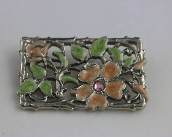 Vintage Floral Brooch, Flower Pin, Flower Brooch, Small Brooch, Rectangular Brooch, Rectangular Pin, Summer Jewelry, Mom Gift, Dainty Brooch