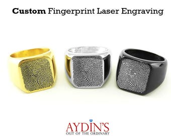 Signet Ring - Custom Signet Ring - Fingerprint Ring - Laser Engraved - Gold Signet Ring Silver Signet Ring Black Signet Ring
