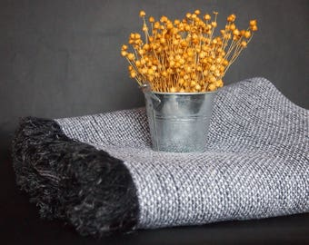 Linen Blanket, Black and White Blanket, Linen Bedding, Linen Gift
