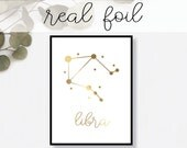 Libra Constellation Print // Real Gold Foil // Minimal // Gold Foil Art Print // Home Decor // Modern Print // Typography // Fashion Print