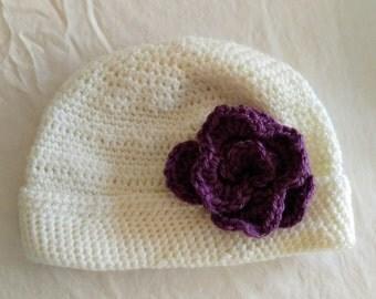 ADALYN hat, fetching cloche hat, white hat, purple, flower, baby soft, beanie hat