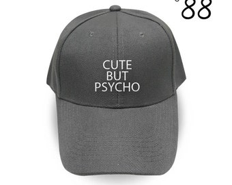 Cute But Psycho Baseball Hat Fashion Grunge Horror Hipster Embroidery Hat Cool Hat Cotton Cap Cotton Pinterest Instagram Tumblr