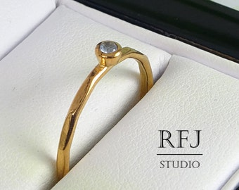 Faceted Lab Aquamarine Rose Gold Ring, 14K Gold Plated March Birthstone 2mm Ligth Blue CZ Ring Rose Gold Stackable Gemstone Ring For Her