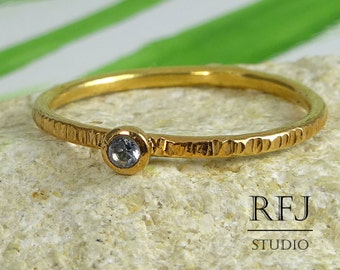 14K Gold  Textured Lab Aquamarine Ring, March Birthstone Rose Gold Plated 2mm Light Blue CZ Ring Gemstone Stackable Rose Gold Stack Ring